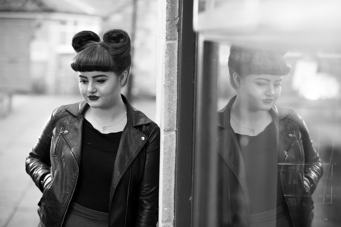 Female-portrait-profile-reflection-in-window