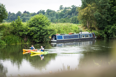 Canoes and boats on the River Avon