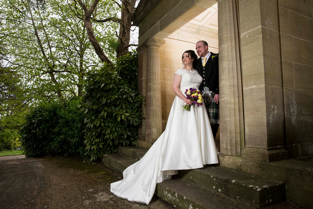 Bride and Groom wedding photo at The Temple at Macdonald Bath Spa Hotel
