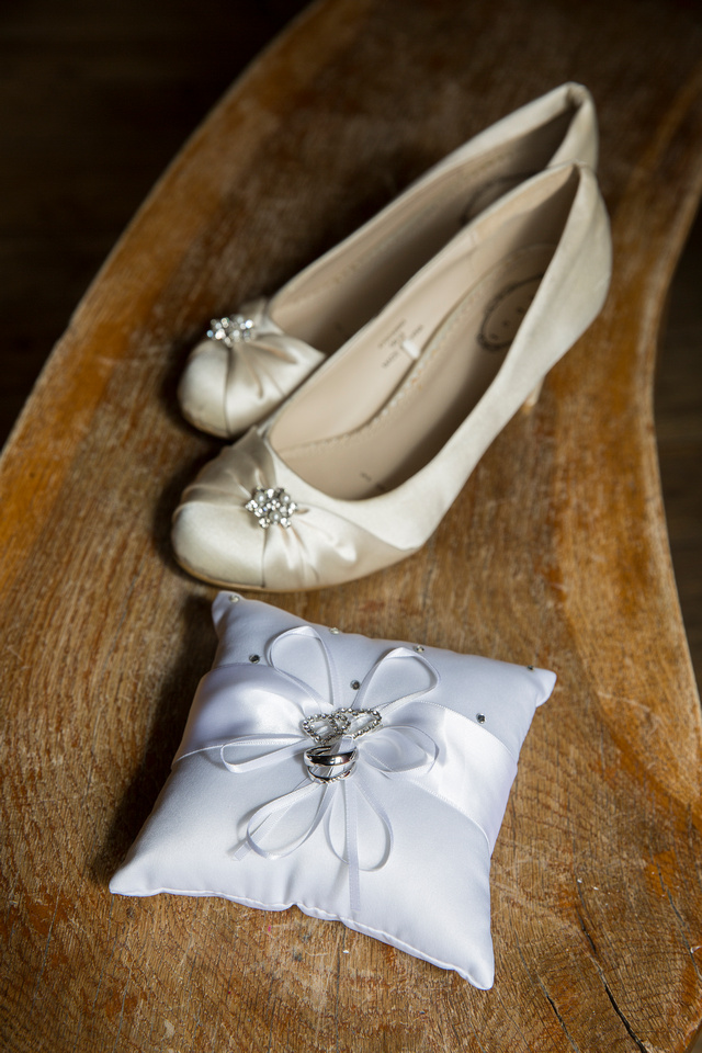 Wedding shoes and rings Leon Day Images photography Bath