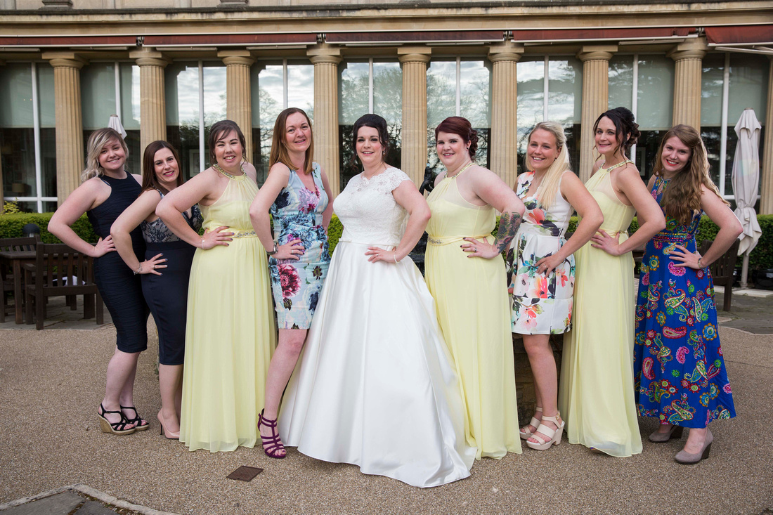Bride with bridesmaids at Macdonald Bath Spa Hotel Leon Day Images