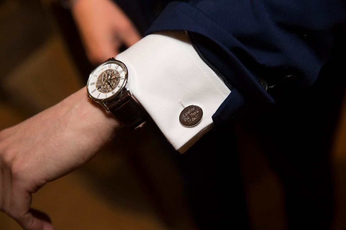 bath priory hotel wedding grooms watch and personalised cufflinks