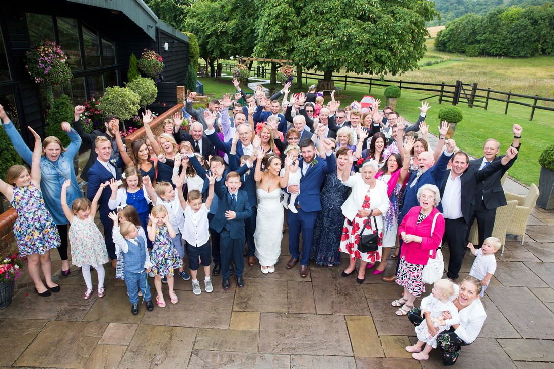group photo all guests Wellington Barn wedding