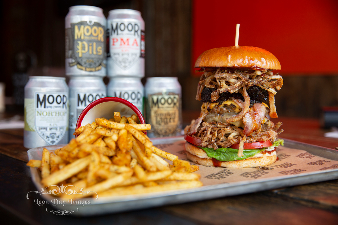 Bare Grills special burger pulled pork bacon fries moors beer ipa