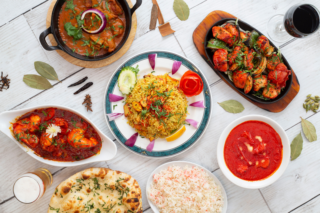 Curry dishes at Grand Sultan Bristol chicken tikka masala pilau rice naan bread
