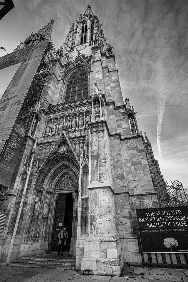 Exterior of Votive Church dramatic sky