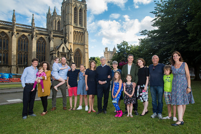 Family portrait by Bristol Cathedral