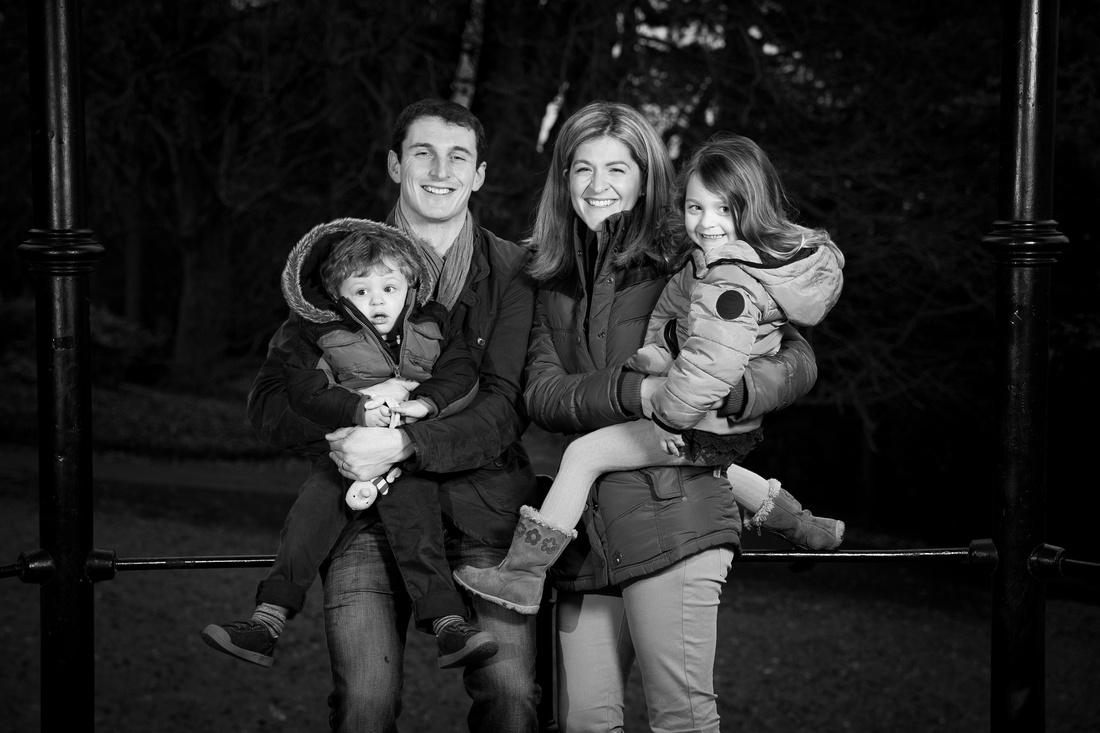 Family portrait at Hedgemead Park pavilion, Bath