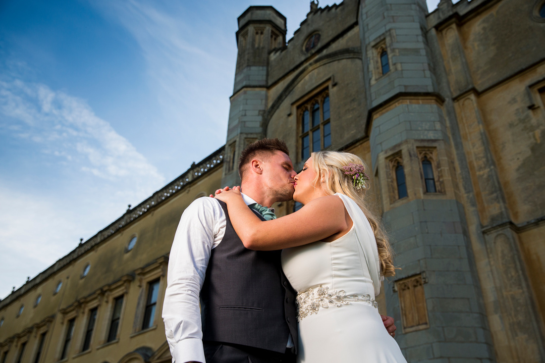 Bride and groom at Ashton Court Mansion