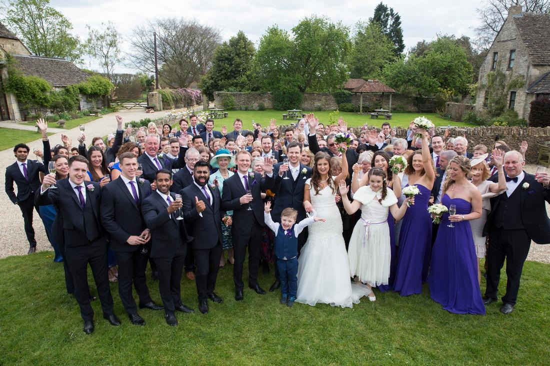 Group shots of everyone celebrating wedding