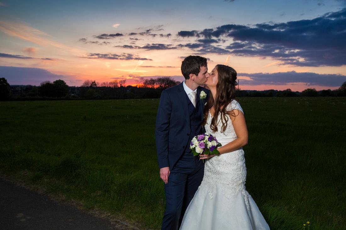 Bride & Groom Sunset photo at Great Tythe Barn, Tetbury