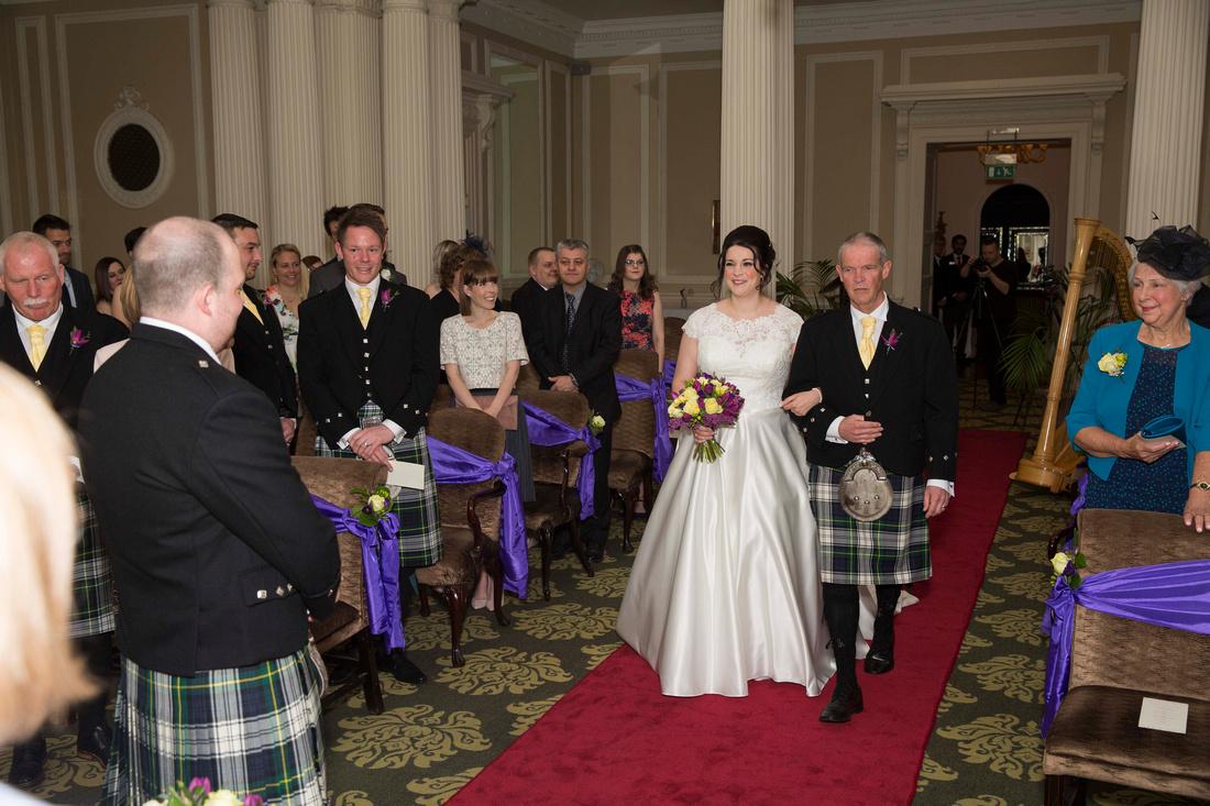 Father & Bride walking down the aisle Vellore room Bath Spa Hotel
