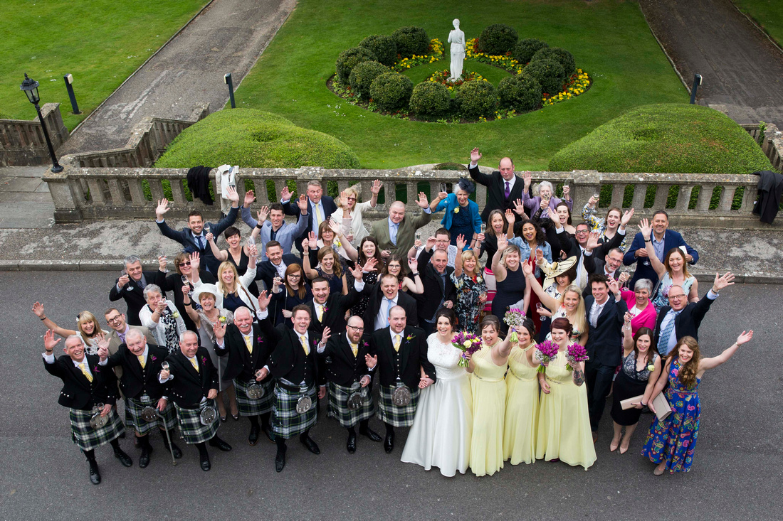 Group shot from balcony of Grange Suite at Macdonald Bath Spa Hotel
