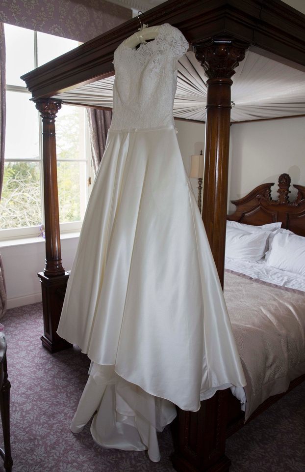 wedding dress four poster bed