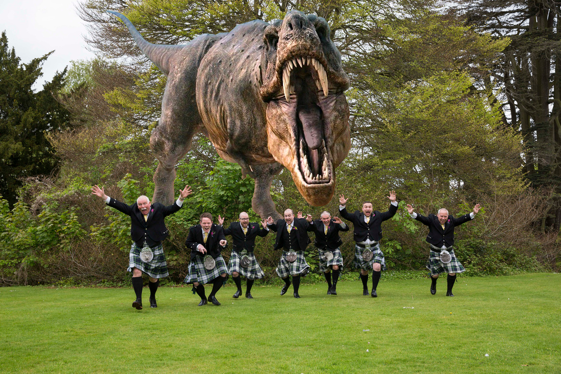 Groomsmen being chased by T-Rex