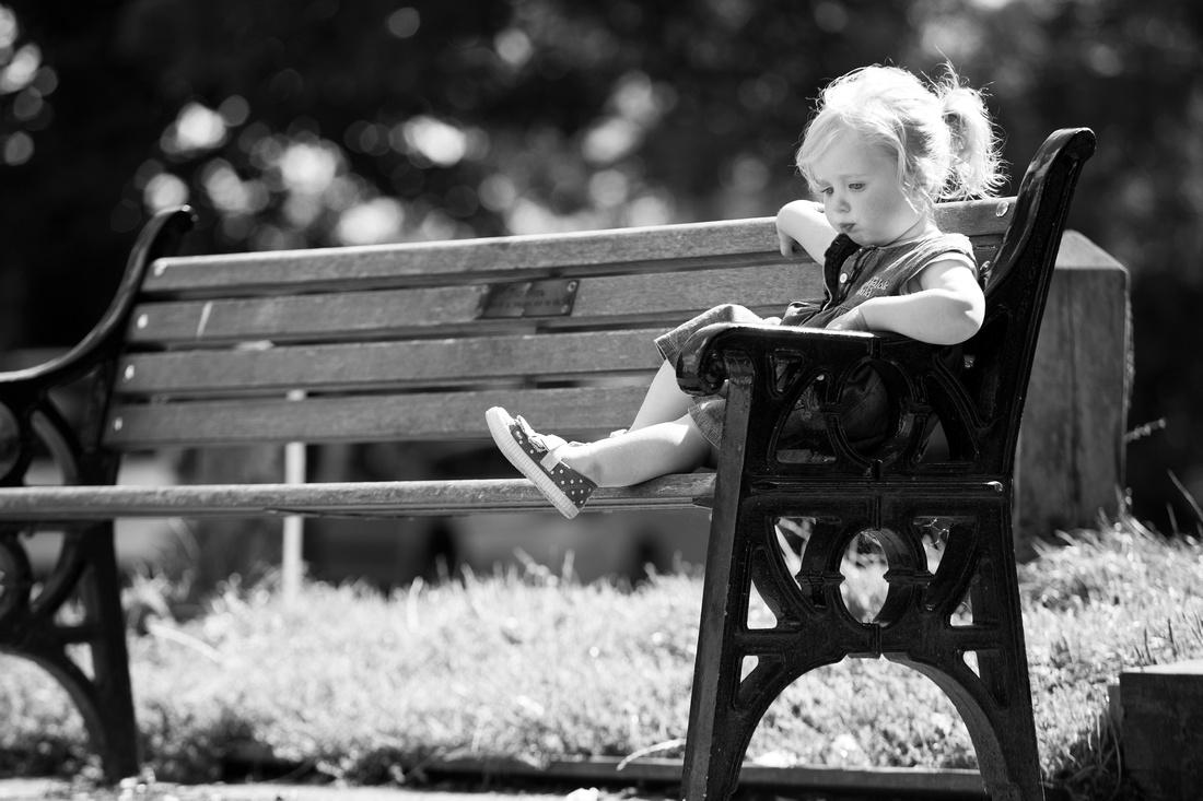 park bench baby portrait
